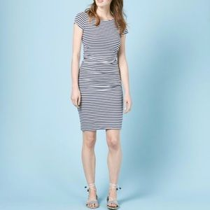 Boden Ruched Striped Midi Dress